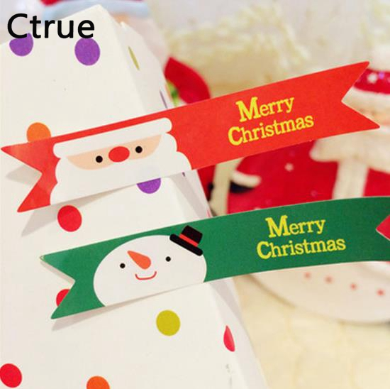 100pcs Lot Colorful Merry Christmas Sticker Tag Gift Tag Label Marks Decorations Diy Accessories New Year Christmas Decoration In Party Diy Decorations From