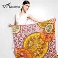 [Vianosi] Marca de luxo Cachecol Mulheres Xale Lenço de Seda Quadrado Grande Tamanho de Impressão Envoltório Moda Bandana Hijab Das Senhoras Macias VA036