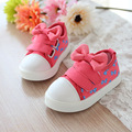 2016 Autumn New Cute Bowknot Girl Kids Canvas Shoes Fashion Sneakers Pink Blue Color Children Shoes