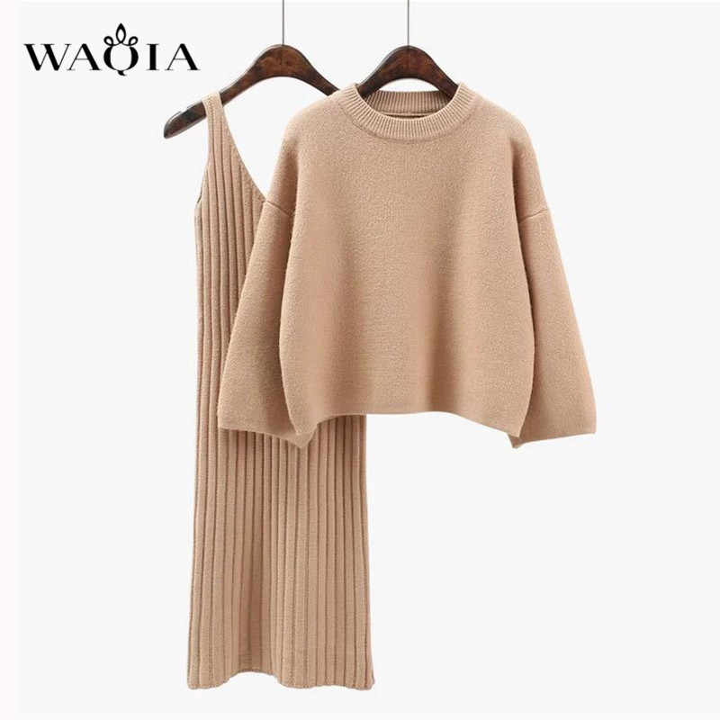 WAQIA 2018 סתיו Womans סוודר + Straped שמלת סטים מוצק נשי מזדמן שתי-חתיכות חליפות Loose סוודר לסרוג מיני שמלת חורף