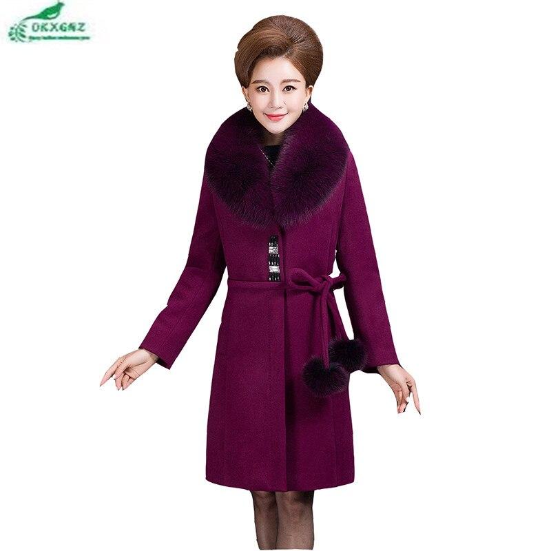 Winter Middle age Plus size fat mom woolen jacket coat women autumn cashmere wool coat long