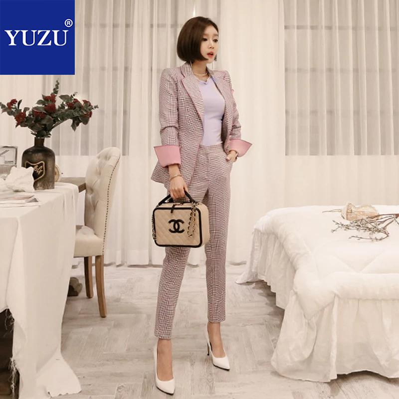 Fashion Pink Plaid Single Breasted Women Pant Suit Notched Blazer Jacket And Straight Pant Office 2 Pieces Set Work Business Set