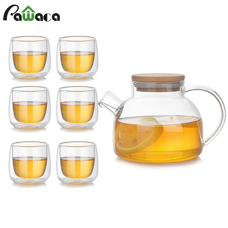 7pcs Heat Resistant Glass Teapot Set Tea Pot + 6 Double Wall Cup Loose Leaf Stovetop Tea Kettle Water Pitcher With Bamboo Lids