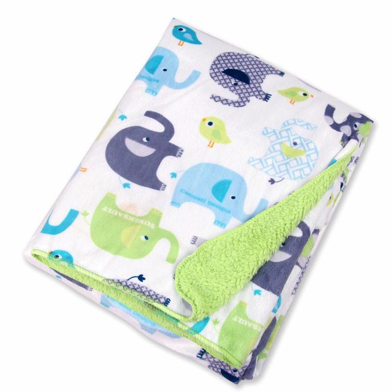 Детское одеяло s короткое плюшевое с мультяшными животными стильное