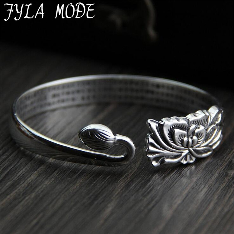 FYLA MODE 999 Sterling Silver Lotus Buddhism Heart Sutra 15mm Width Band Cuff Bracelet Bangle 46g XJF026FYLA MODE 999 Sterling Silver Lotus Buddhism Heart Sutra 15mm Width Band Cuff Bracelet Bangle 46g XJF026
