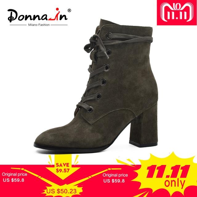 Donna-в новом Мода 2017 г. осень-зима замшевые кожаные ботинки Высокие каблуки обувь на молнии квадратный носок Брендовая женская обувь