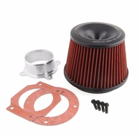 Universal Kits Car Vehicle Auto Power Intake Air Filter 75mm Dual Funnel Adapter Safe Durable Serviceable
