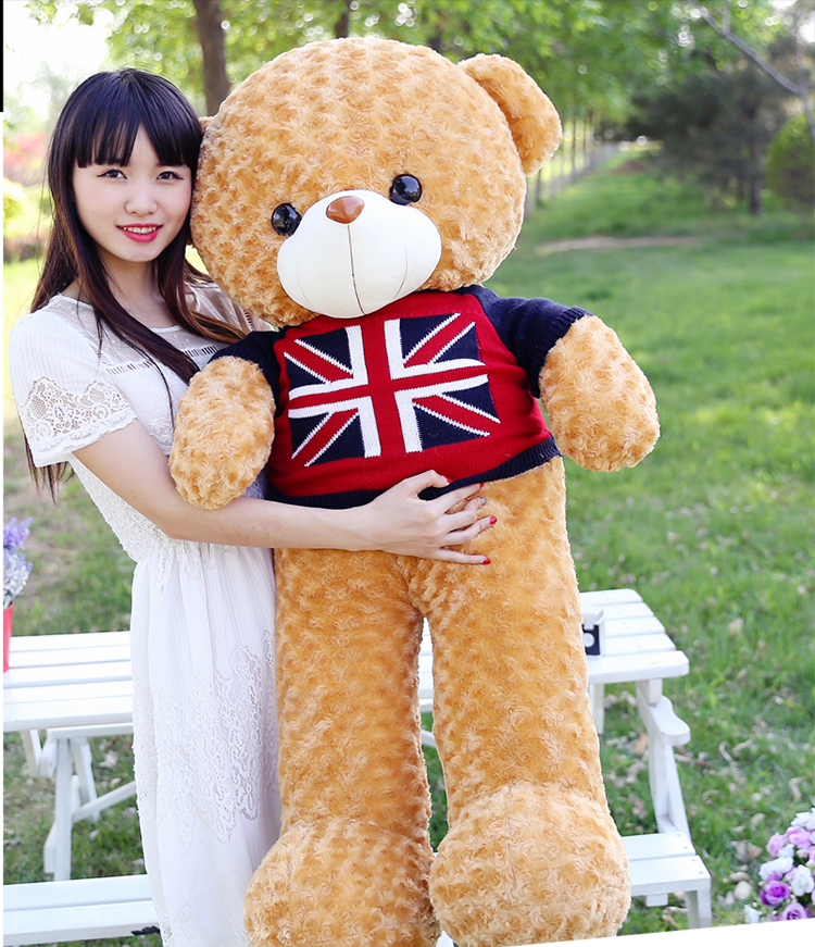 stuffed plush toy large 110cm dressed sweater flag teddy bear plush toy soft hugging pillow toy birthday gift w0242 lovely glasses panda large 90cm plush toy panda doll soft hugging pillow proposal birthday gift x028