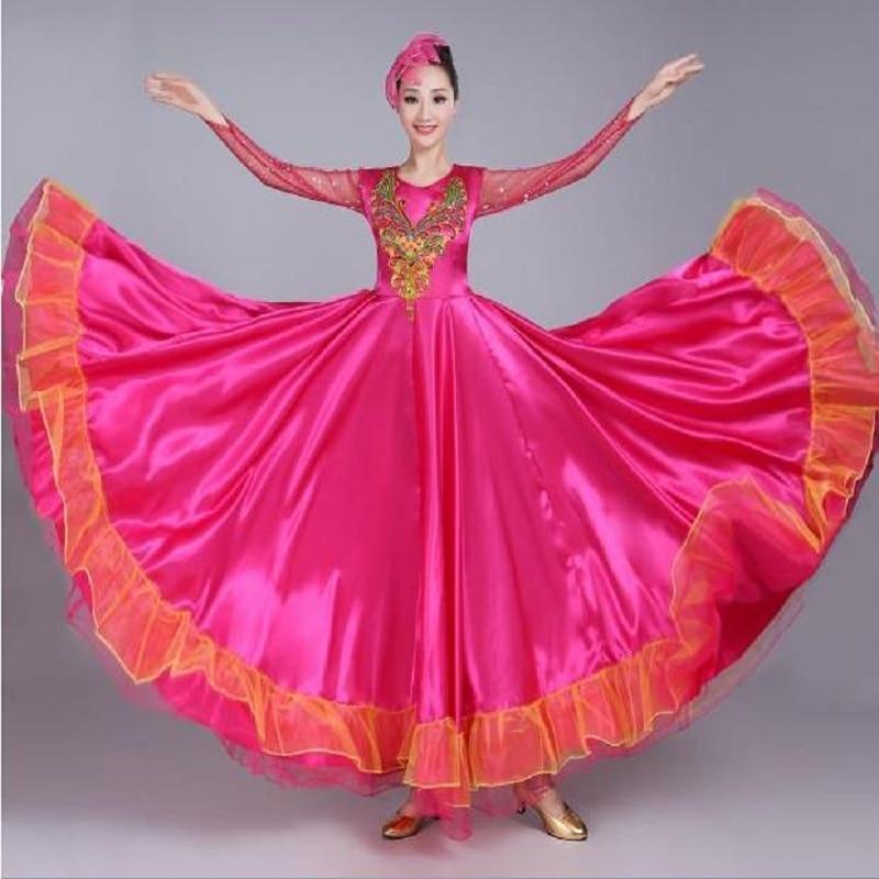 Chinese Folk Dance Brand 2018 New Womens National Dance Performance Clothing Ladies Chorus Stage Dress Opening Dance Big Swing Skirt Costumes