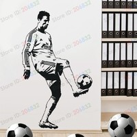 Free Shipping Wall Stickers Wholesale And Retail Wall Decor PVC Material Decals Wallpaper Football Soccer Z