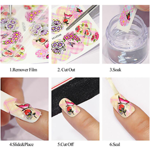 Image 5 - 12pcs Nail Art Stickers Romantic City Flowers Wraps Perfume Lovers Balloon Rose Beauty Girls Decals Nails Decor BEBN1141 1152