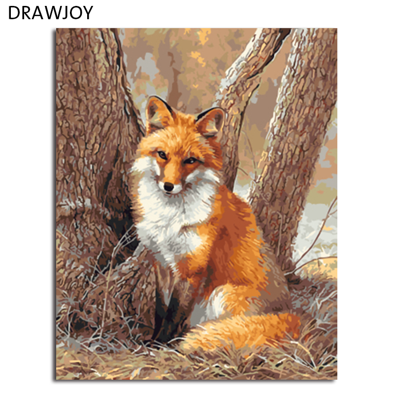 DRAWJOY Framed Picture Painting & Calligraphy Of Loely Animals DIY Painting By Numbers Coloring By Numbers Home Decor