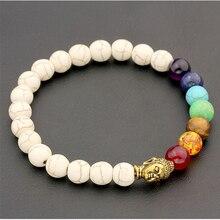 2016 NEW 8mm White Turquoise Stone Black Lava Beads 7 Chakra Healing Balance Buddha Bracelet Lava Yoga Reiki Prayer  bracelet Q1 цена