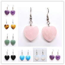 Trendy-beads Silver Plated Romantic Cute Heart Drop Earrings For Lovers Many Color Quartz Stone Jewelry