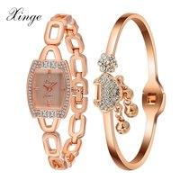 Xinge Popular Brand High Quality Rose Gold Silver Women Wrist Watches Bracelet Set Crystal Watch For