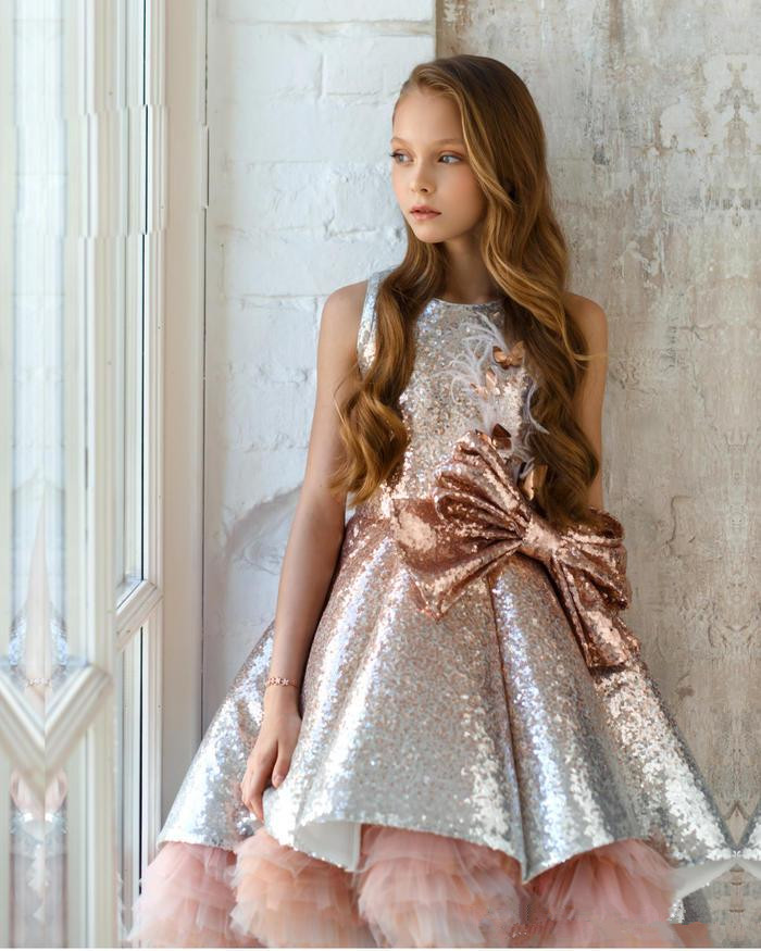 Sparkle 2019 Flower Girl Dresses For Weddings Ball Gown High Low Sequins Bow Long First Communion Dresses For Little Girls