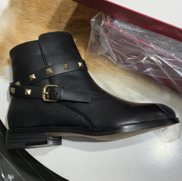 Hebillas as As Tobillo Sandalias Pic Botas Negro Pic Pisos Espárragos Mujer Remaches Cuero Zapatos Zapatillas Plaza Gamuza De SwEqUxAEF