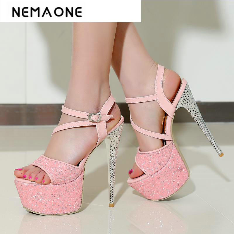 New shiny summer shoes women fashion cross buckle platform women sandals sexy thin high heels sandals peep toe shoes woman woman fashion high heels sandals women genuine leather buckle summer shoes brand new wedges casual platform sandal gold silver