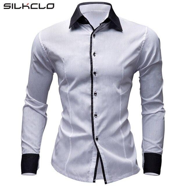 eaaa0f3ee4cb2 FLC Brand 2016 Dress Shirts Men s Solid Shirt Slim Fit 8 Colors Long  sleeves Men Shirt