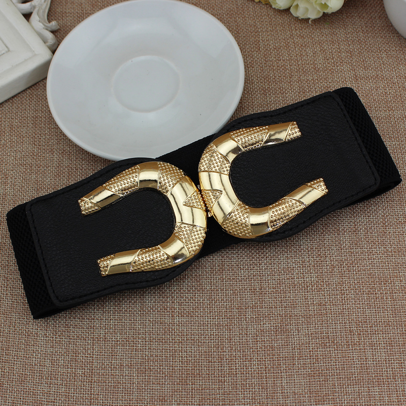 All black 65cm long C$C waist   belt   wide cummerbund strap Dress Adornment For women Waistband