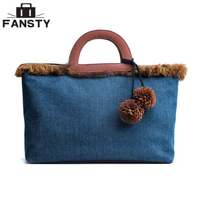 Denim Canvas Women Shoulder Bags Fur Ball Jeans Large Ladies Messenger Bags  Designer Brand Vintage Women s 825707809f