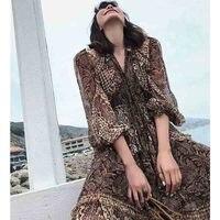 Cosmicchic Runway Designer Maxi Dress Leopard Print Long Sleeve V neck Bow Silk Dress Ruffled Female Fashion Beach Dress ZIM2019