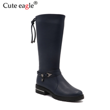 Cute Eagle Winter Boots For Girl Pu Leather Shoes Children Warm  Plush Snow Felt Girls Rubber Fashion High Boot