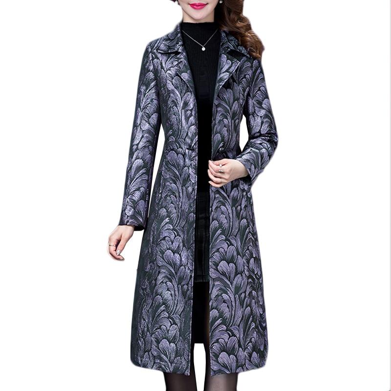 Long Sleeve Printing Windbreaker coat Spring Autumn coats Women New Plus size Women's   trench   coats Clothing Long Overcoat a343