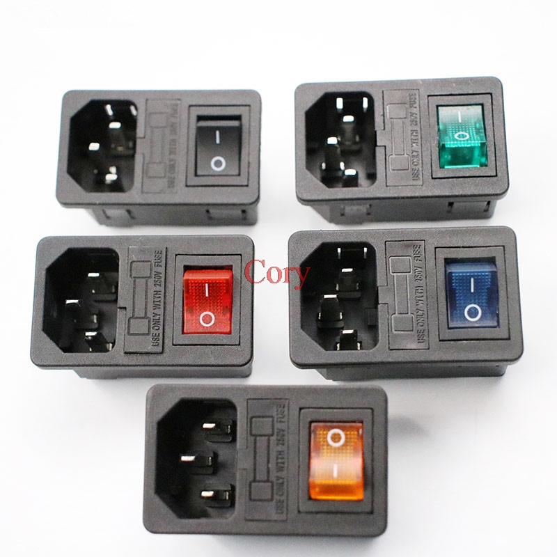 1PC Rocker Switch Fused IEC 320 C14 Inlet Power Socket With Light/NO Light Switch Connector Plug Connector No Fuse CZYC