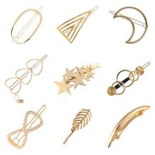 9 Pack Gold Vintage Retro Hair Clip Snap Barrette Claw Grip Bobby Pins Alligator Hairclips Metal Pearl Wedding Bridal Headpiece