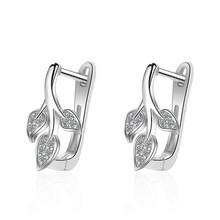 Utimtree Fashion Earrings Jewelry Small Leaves 925 Sterling Silver Cubic Zirconia Hoop Earring for Women Wedding Party Jewellery(China)