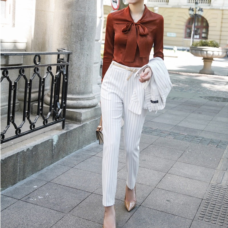 Fashion Striped Pencil   Pants   Slim Leggings   Pants   Female Trousers   Capris   Uniform Styles Office Work Wear Ladies Business   Pants