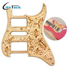 HSH Wooden Guitar Pickguard Maple Wood with Decorative Flower Pattern for Electric Guitars