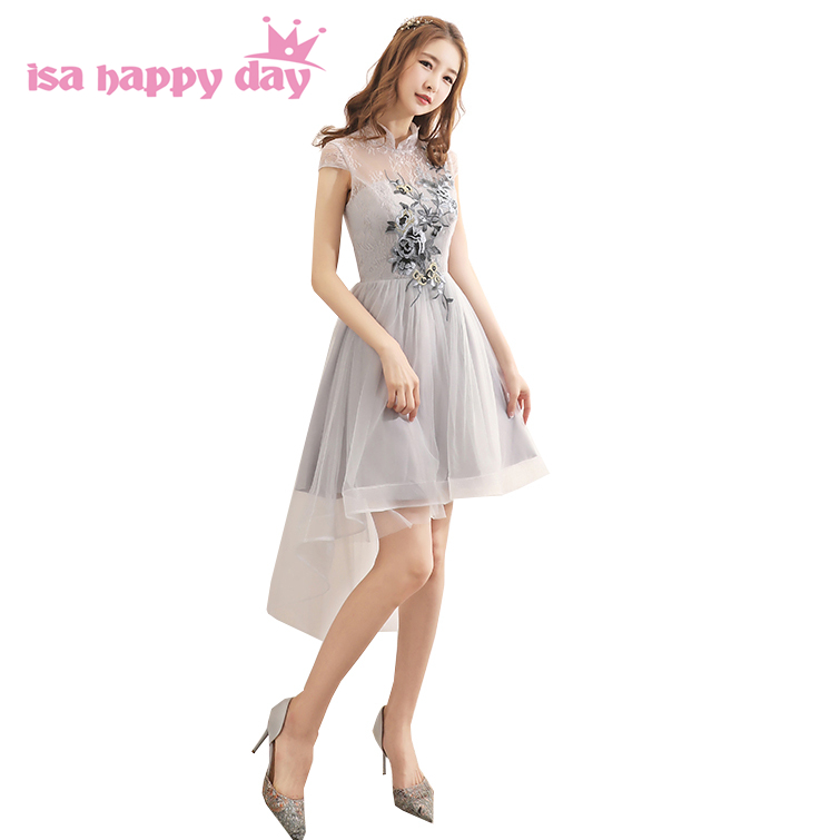 Most Popular Bridesmaid Dress: Most Popular Light Gray Lace Asymmetrical Modest High Low