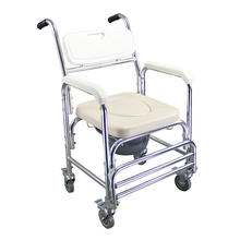 Home Care Shower Chair Commode Wheels Bath Seat Elder Pregnant Women Spa Bench Folding Waterproof Bathroom Chairs Toilet Stool(China)