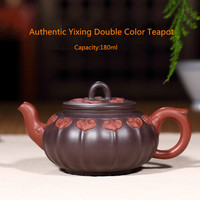 180ml Authentic Yixing Double Color Teapot Famous Chinese Kung Fu Zisha Tea Pot Pu'er Tea Black Tea Gift Free Shipping