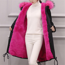 Parkas For Girls Winter 2016 Army Green Parka Coat With Fur Hood Ladies Korean Winter Jacket Faux Pink Fur Inside Warm Outerwear