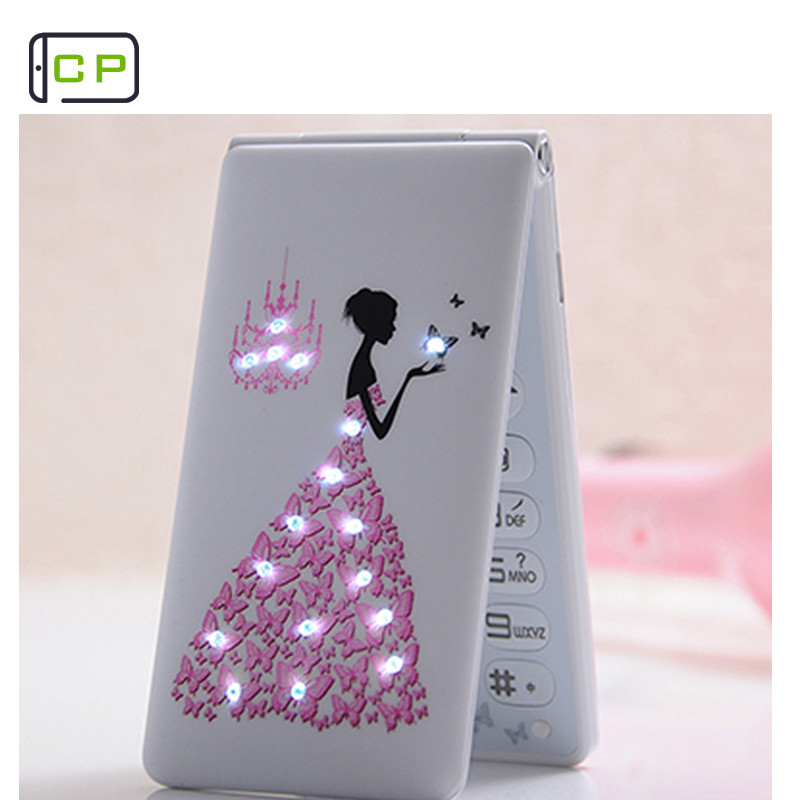 Новый разблокирована флип телефона KUH D11 Dual SIM 1800 мАч карты для женщин и девочек леди, с принтом в виде цветов и светодиодный фонарик сотовый т...