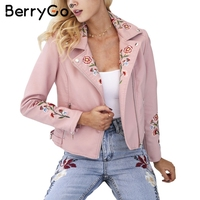 BerryGo Black Basic Jacket Coat Outerwear Coats Embroidery Faux Leather Jacket Women Short Bomber Jacket Female
