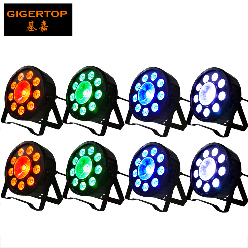 Freeshipping 8XLOT Chrismas New Year Party Decoration Stage Flat Led Par Light 9*3W + 1*30W RGB 3IN1 Digital Par Cans DMX 6CH new digital 6 30