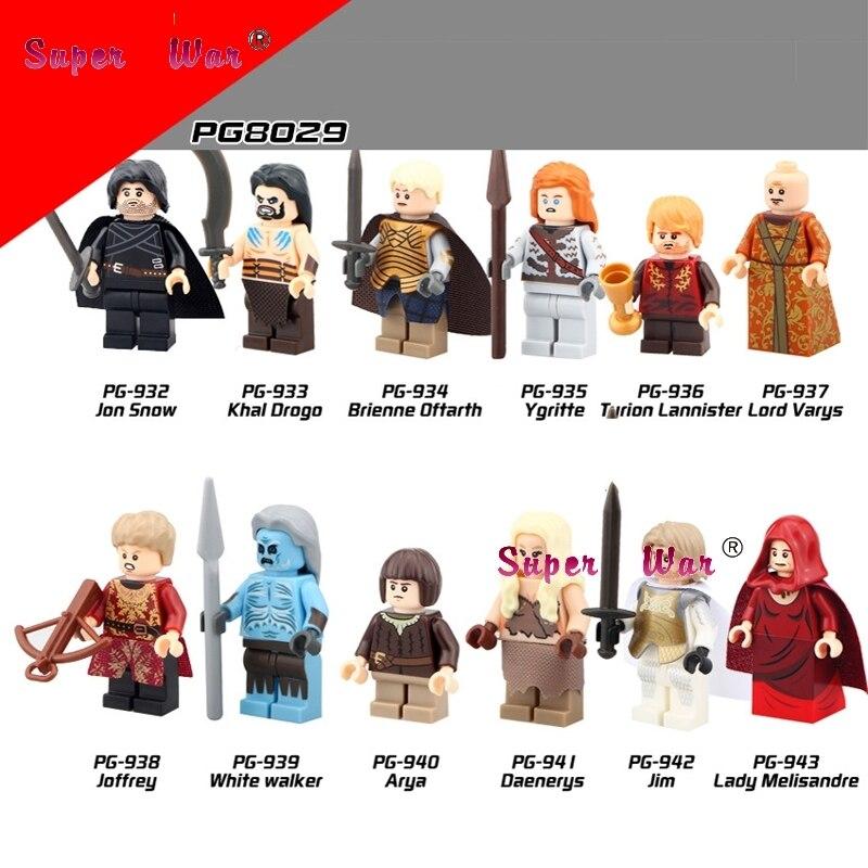 Game of Thrones Jon Snow Daenerys Seigneur Varys Blanc Walker Khai Drogo Ice and Fire Série Blocs de construction brique jouets pour enfants
