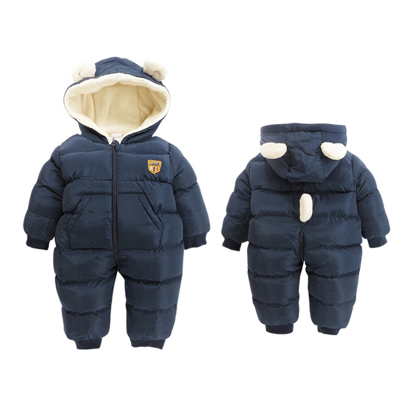 New Style Feather Cotton Boy Girl Romper Long Sleeve Hooded Baby Clothes Solid Color Infant Jumpsuit Baby Clothing