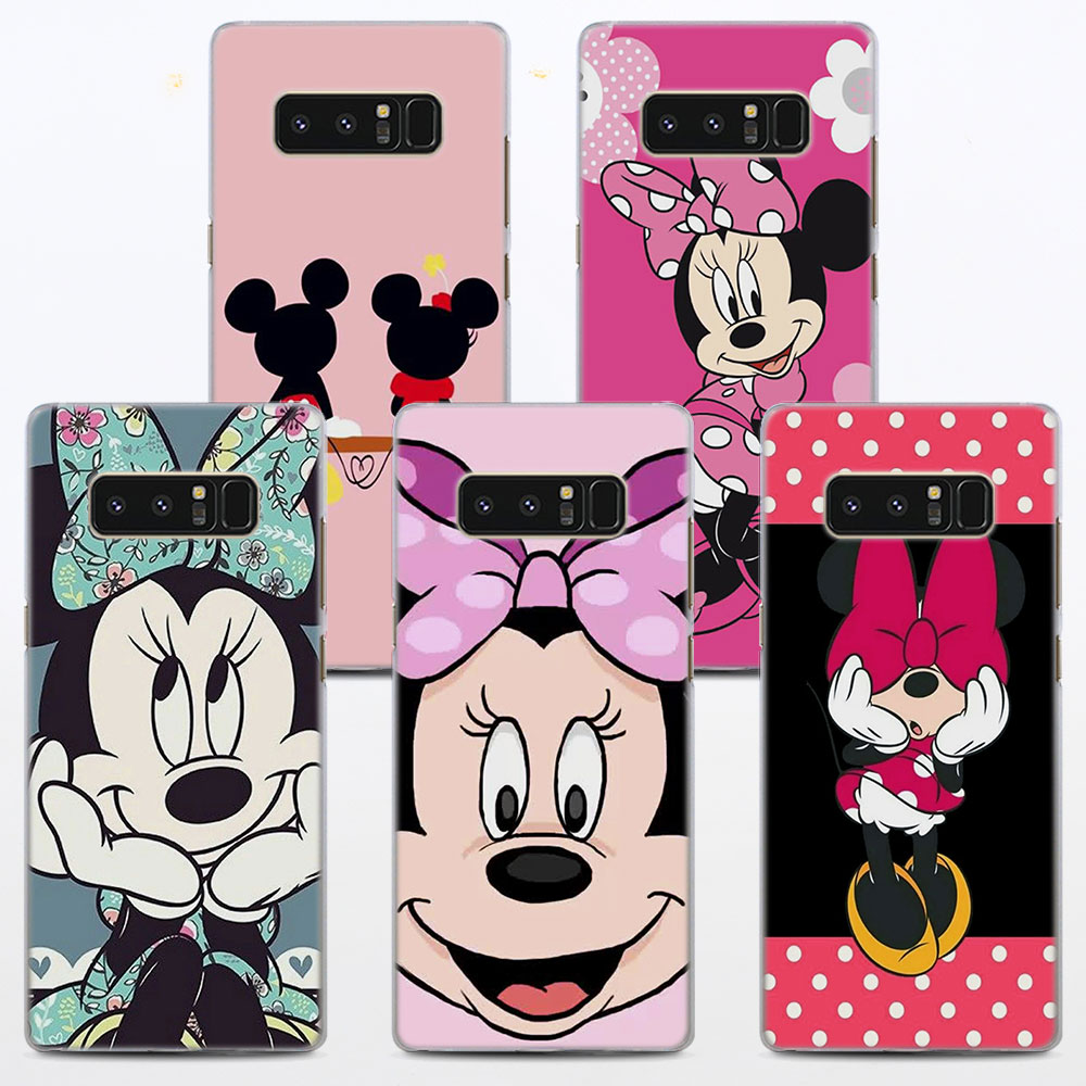 MOUGOL Minnie Mouse Style hard Clear Phone Case for Samsung Note 8 5 4 S9 S9Plus S8 S8Plus S6 S7 edge S5