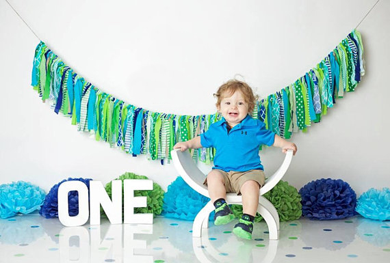 Mint Green Baby Shower Banner Handmade Party Highchair Bunting Baby Room banner birthday party decorations home Decoration