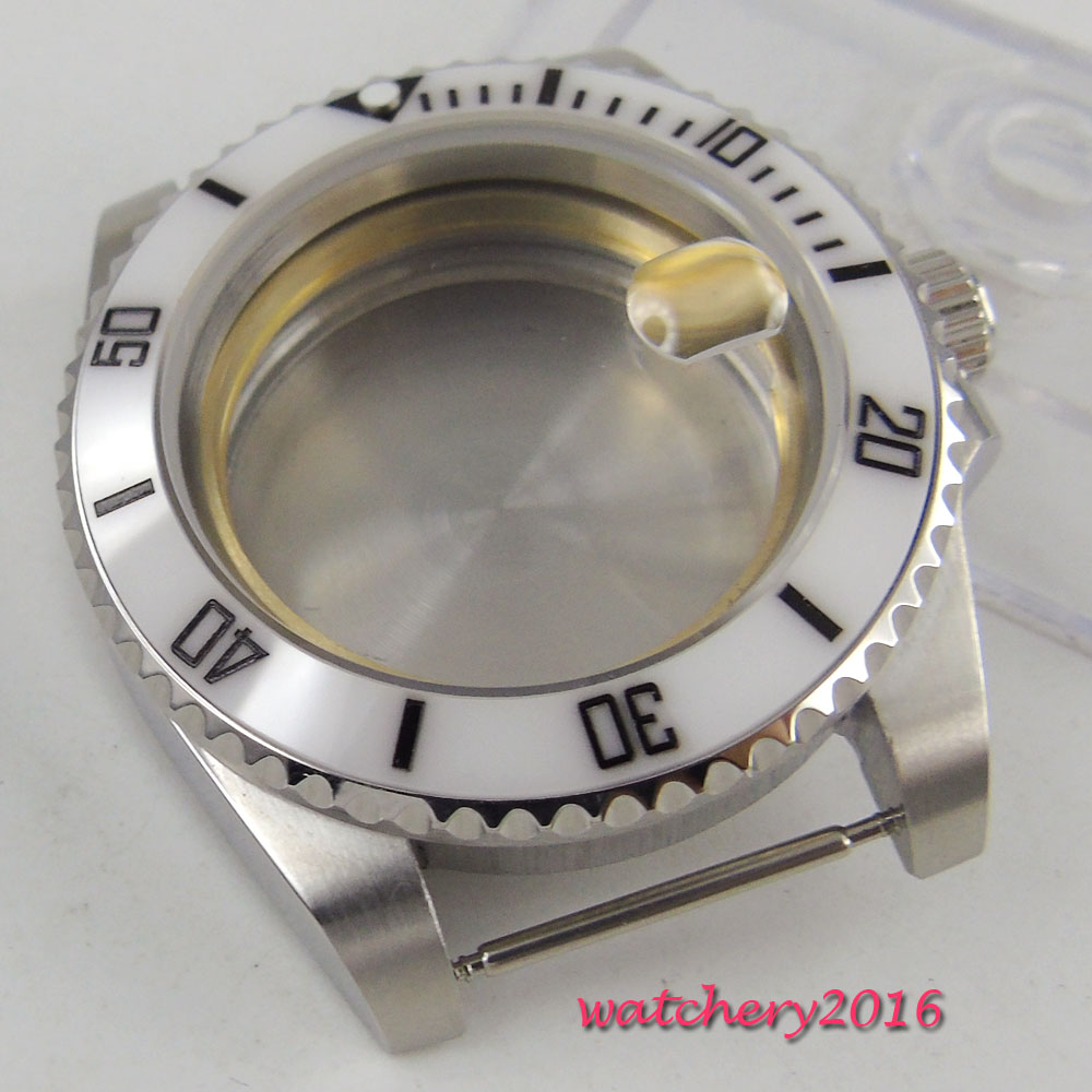 40mm parnis Sapphire Glass Date Window White Ceramic Bezel Luminous Marks stainless steel Watch Case fit