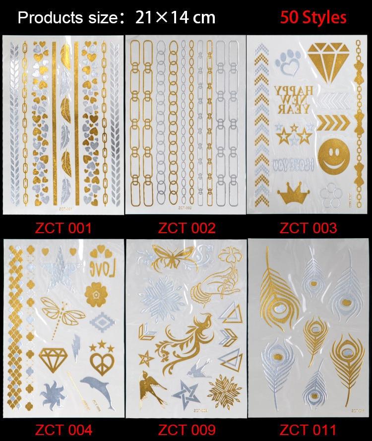 2017 Real 50 New Styles Metallic Gold Silver Body Art Temporary Tattoo Sexy Non toxic Flash