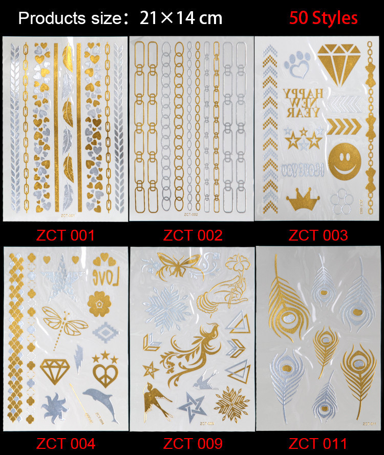 2017 Real 50 New Styles Metallic Gold Silver Body Art Temporary Tattoo Sexy Non-toxic Flash Tattoos Sticker For Women casual bow slides women summer beach shoes woman leather slippers flat flip flops ladies sandals