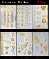2017 Real 50 New Styles Metallic Gold Silver Body Art Temporary Tattoo Sexy Non toxic Flash Tattoos Sticker For Women