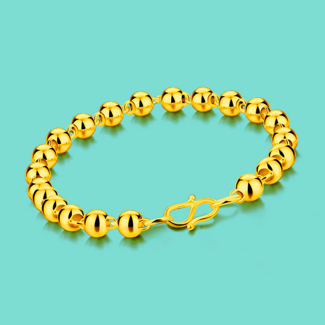 Ethnic Gold Jewelery Ladies Simple 24k Gold Bracelet Fashion Bead Bracelet Design Gold Chain Multi-size Valentine's Day present