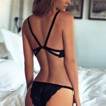 Sexy Women Deep V Neck Bra Openwork Lace Suspenders Thongs Unpadded Brassiere Sexy Underwear Suit